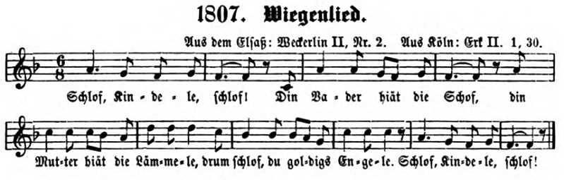 Schlof Kindele Schlof (Elsaß, eigene Melodie)