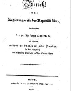 Bericht Politische Lieder Bern 1836