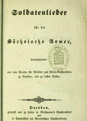 Soldatenlieder Für Die Sächsische Armee