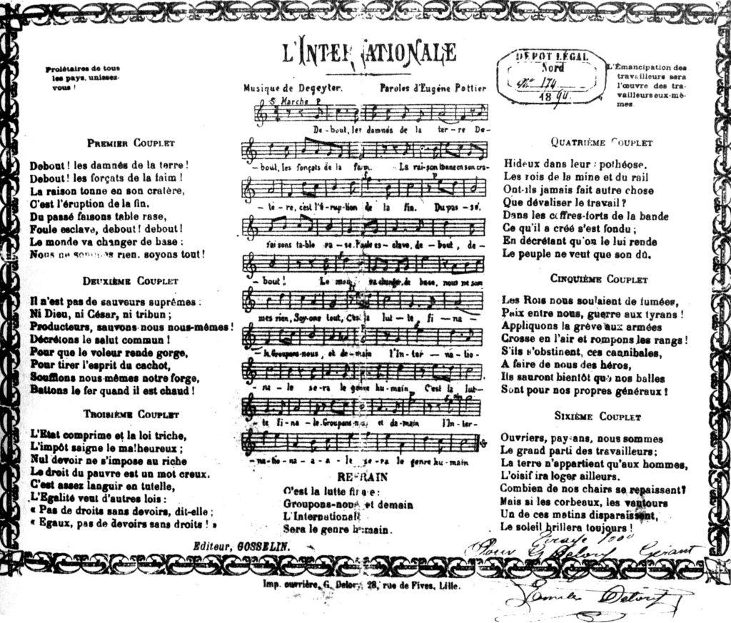 """Erstdruck der """"Internationale"""" 1894"""