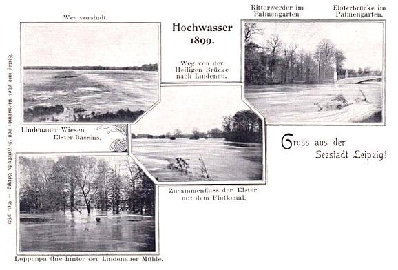 Wassernot Leipzig Postkarte